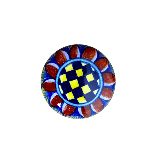 Italian ceramic knob hand painted. Blu, yellow, red