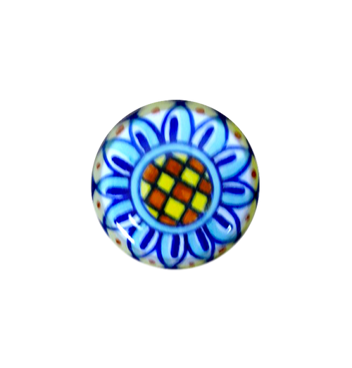 Pottery Italy Knob blue, light blue, yellow orange. Italian ceramics by mod