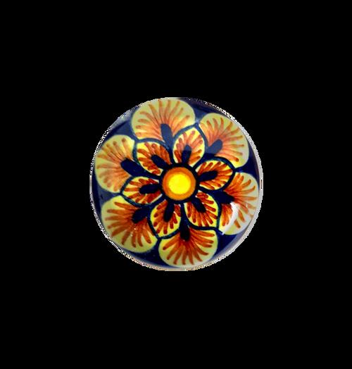 Knob of deruta pottery orange and blue