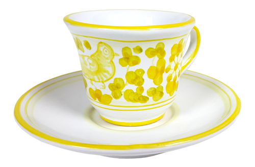 Espresso cup and saucer Arabesco yellow