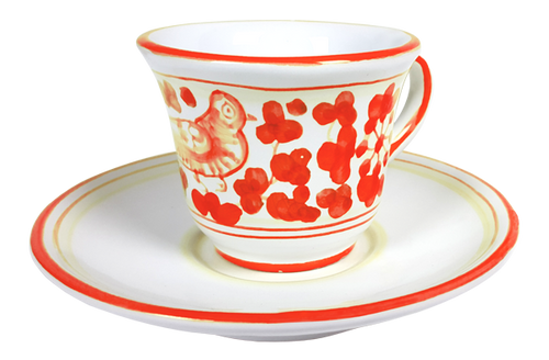 Espresso cup and saucer Arabesco Red
