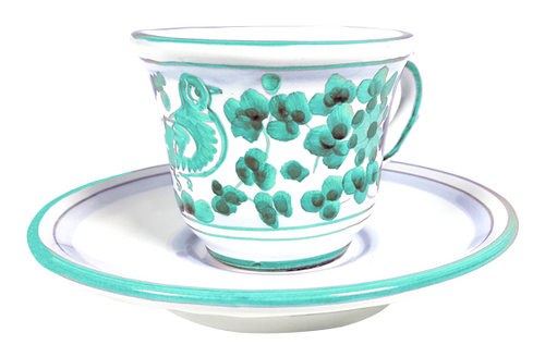 Espresso cup and saucer Arabesco Green Water