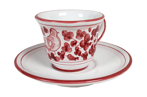Espresso cup and saucer Arabesco Carmine