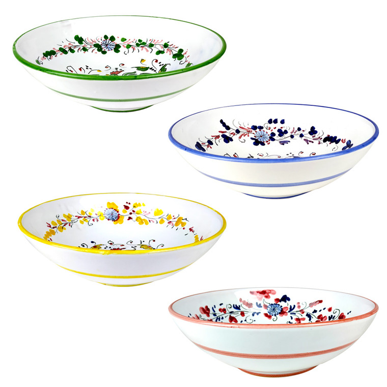 "Coloured Italian ceramic bowls  ""Galletto"" 10 Inches"