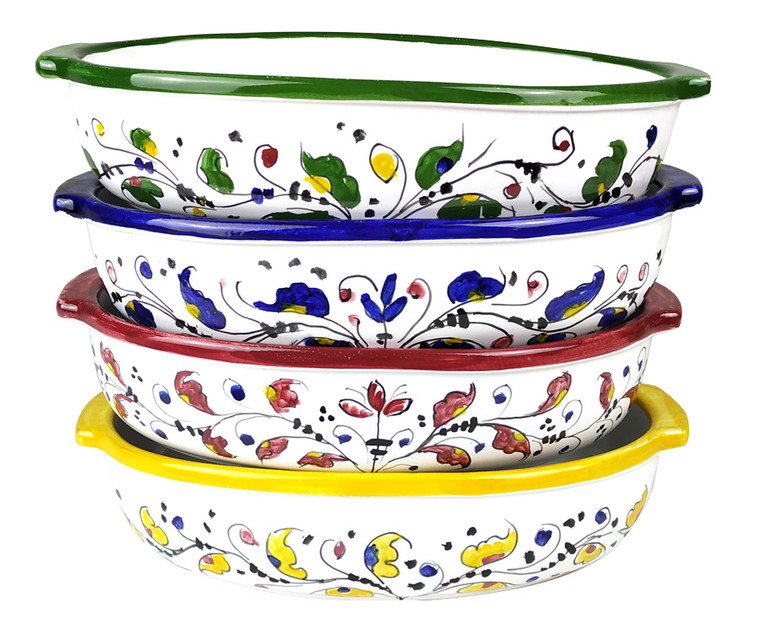 Hand-painted baking trays in different colours