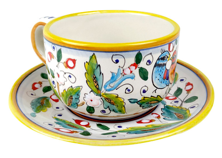 Milk Cup with plate love birds