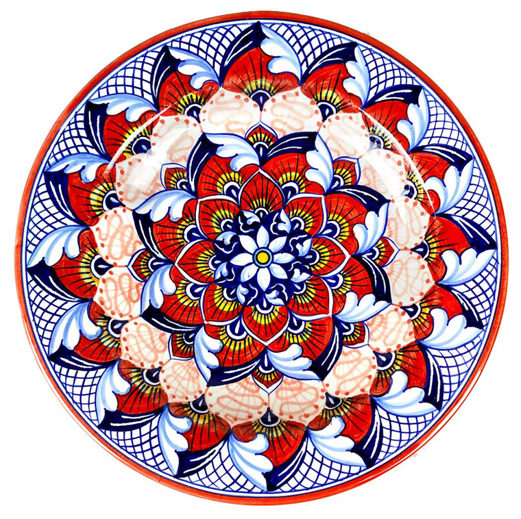 Soup plate peacock Red
