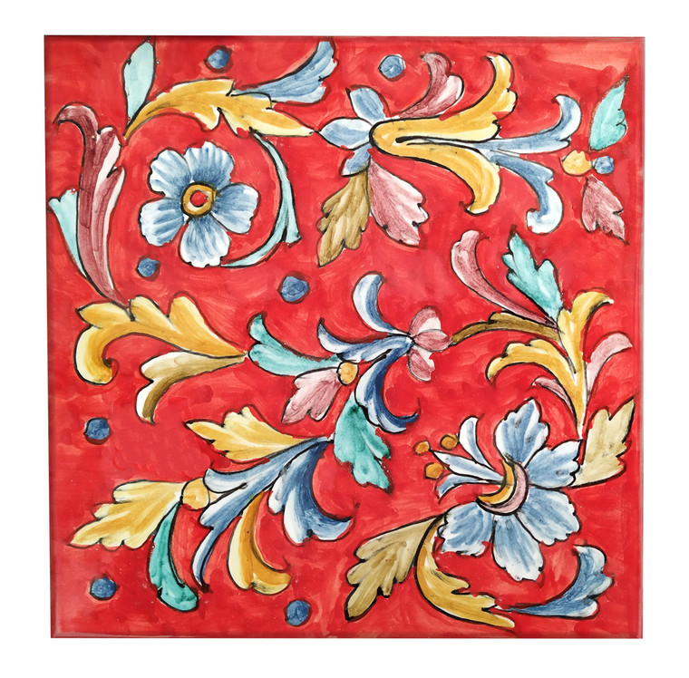Handpainted Tiles background Red 7,8 x 7, 8 Inches