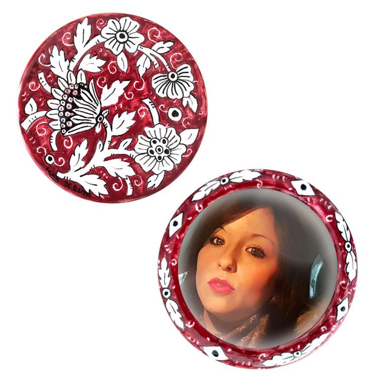 Italian ceramics Front and back handbag mirror by mod ceramics