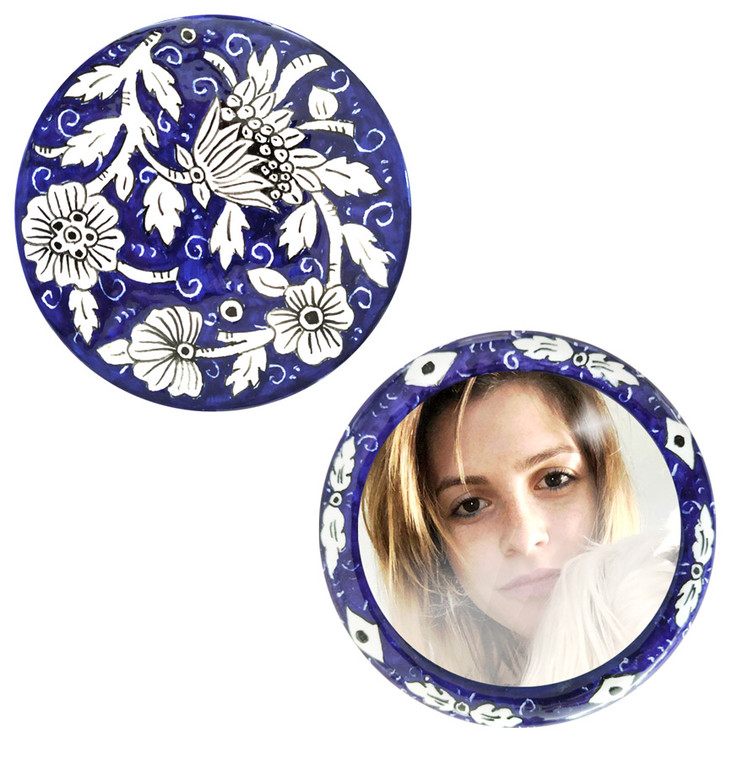 Catherine ceramic ornamental handbag mirror Front and back