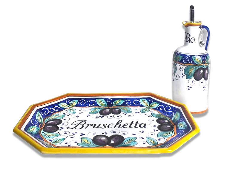 "Pottery tray""bruschetta"" with oil bottle made in Deruta"