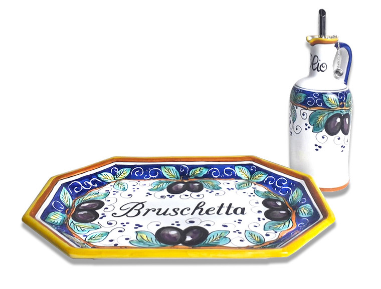 "Pottery tray""bruschetta"" with oil bottle made in Deruta"