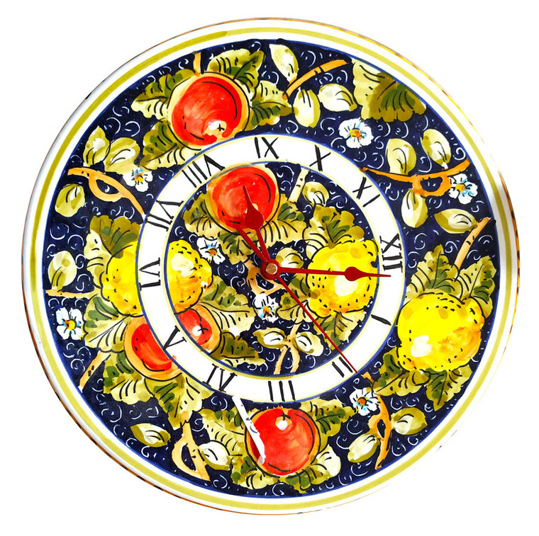 Ceramic clocks handmade blue and fruits