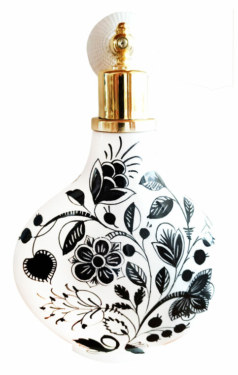 Parfume bottle of ceramic black and white