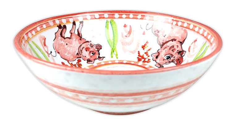 Italian pottery bowl with pig Design
