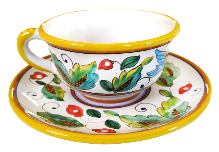 Pottery tea cup love birds