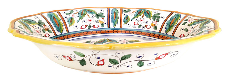 Oval scalloped serving bowl love birds