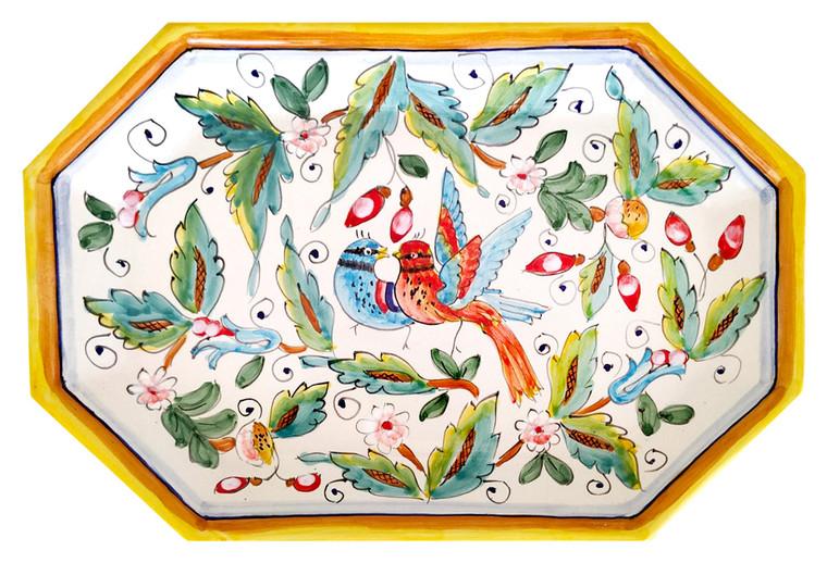 Octagonal Tray Love birds
