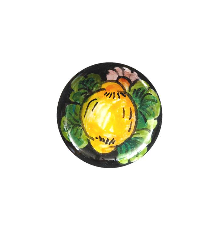 Pottery store knob lemon and black background