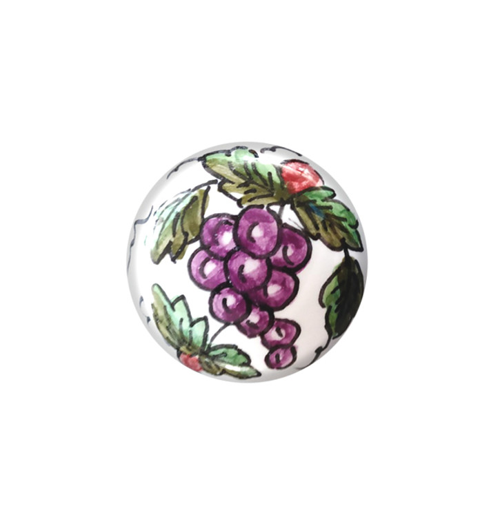 Pottery knob with grapes hand painted