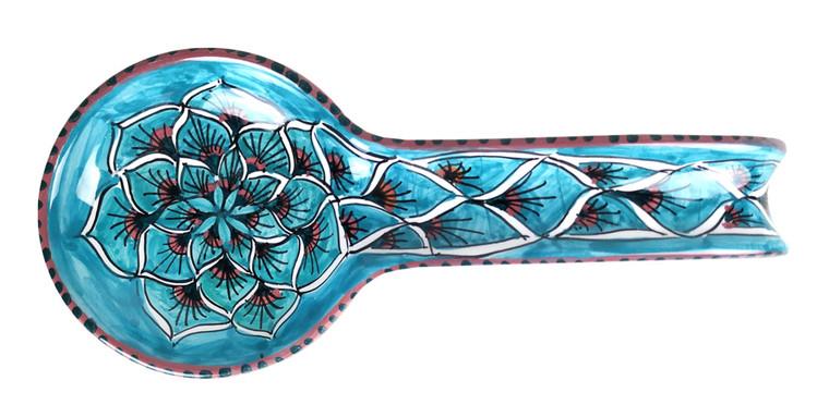 Majolica spoon rest peacock decoration ligh blue