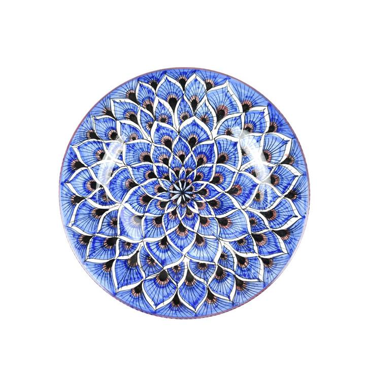 Deruta Ceramics Salad Plate peacock Blu Decoration