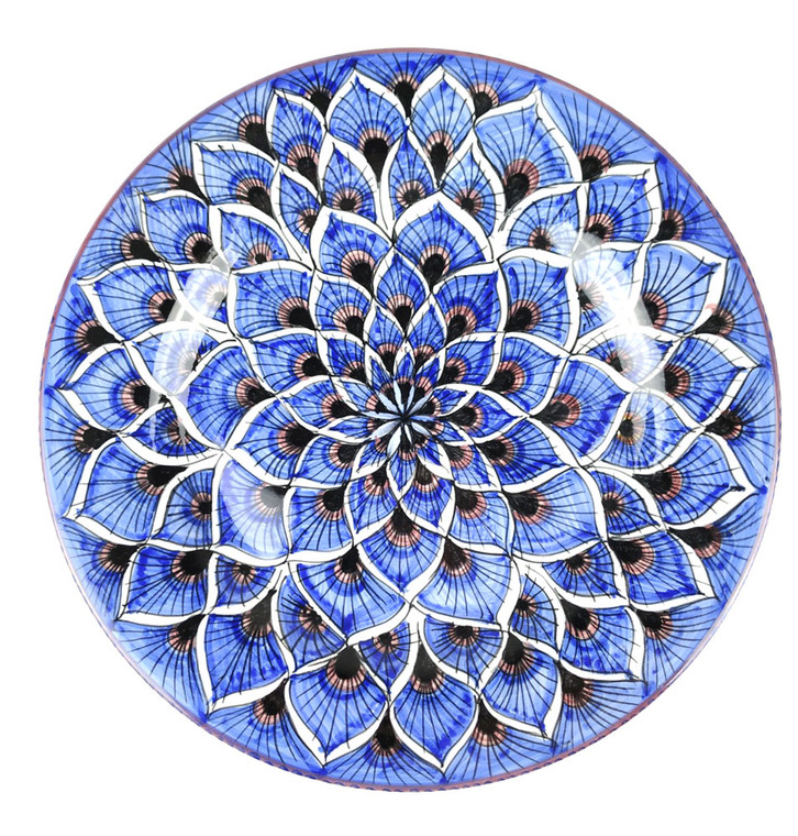 Deruta ceramic dinner plate blu peacock decoration