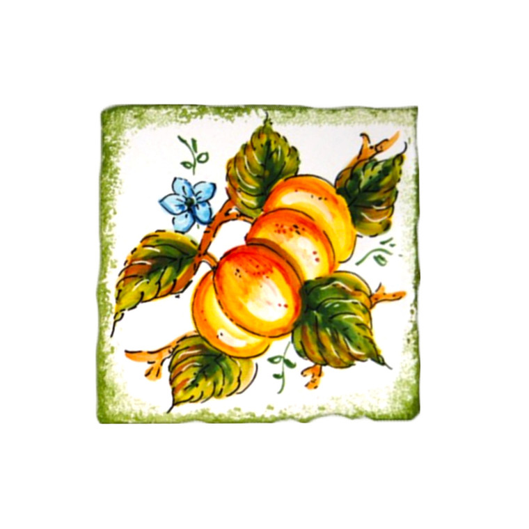 Pottery for sale brick with Apricots decoration handpainted
