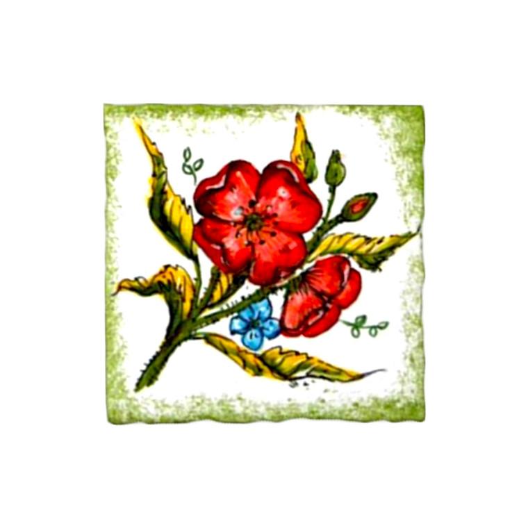 Deruta ceramic brick with poppies decoration handpainted