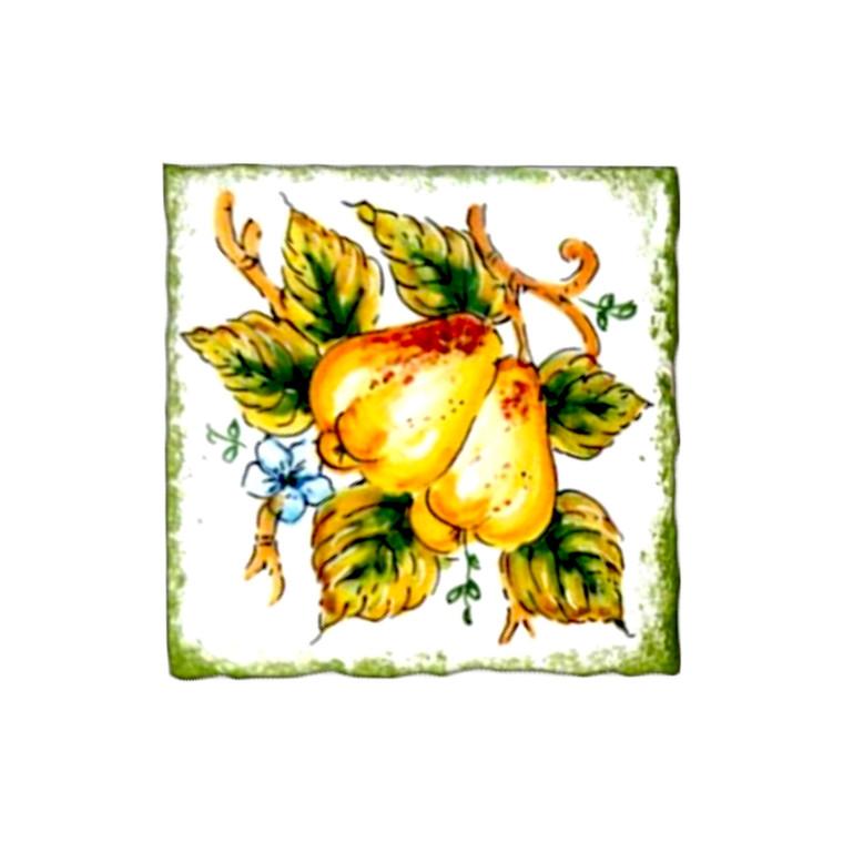 Deruta majolica brick with pears decoration handpainted