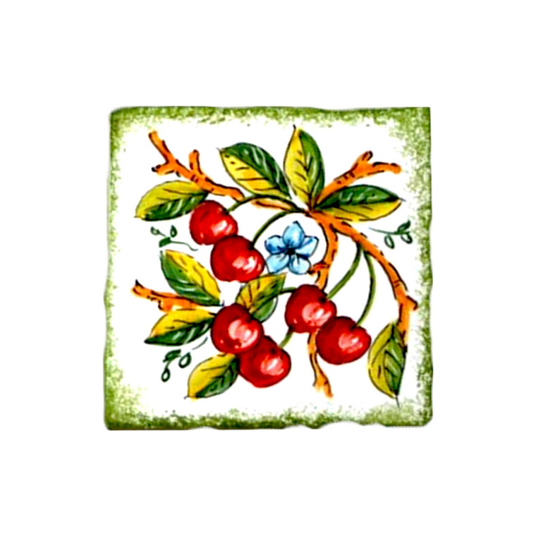 Ceramic brick made in Italy decorated by hand with cherries decoration