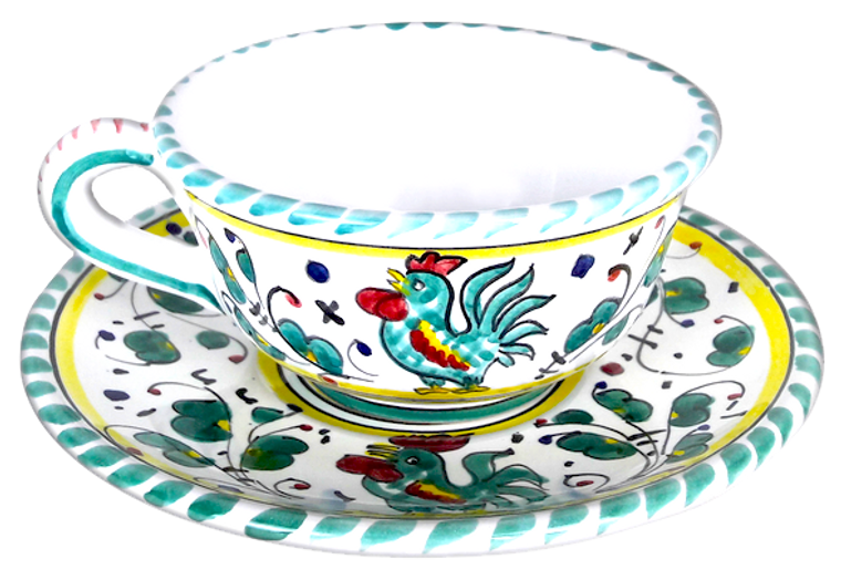 """Cup and Saucer  """"Galletto"""" Verde"""