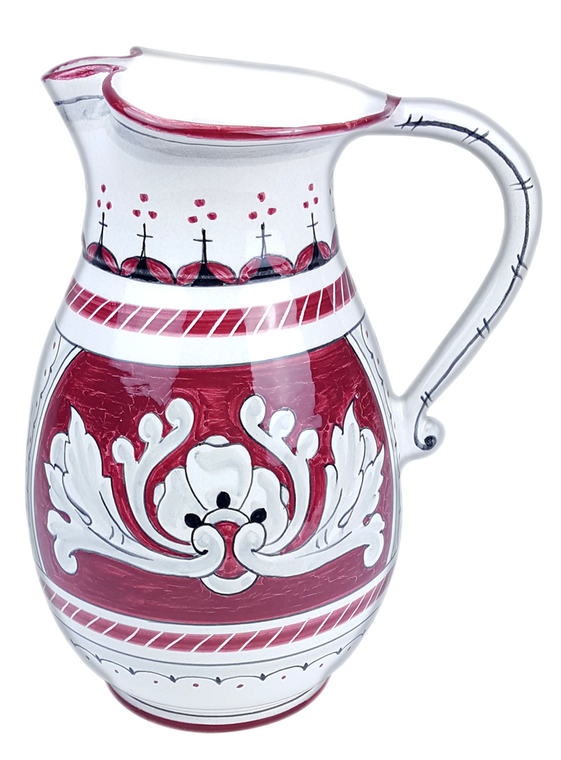 One-litre jug in Italian Deruta ceramic. The decoration recalls the motifs of the '600.