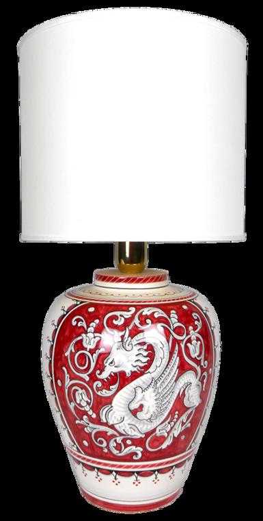 Raffaellesco deruta lamp with red background