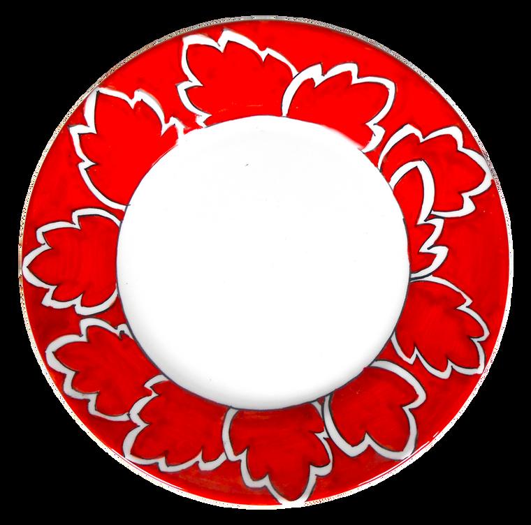 Maple Leaf Red Salad Plate