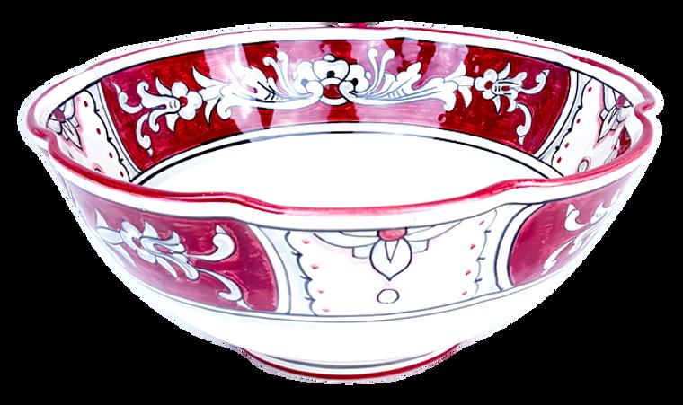 Scallopped Serving bowl '600 Fondo Rosso