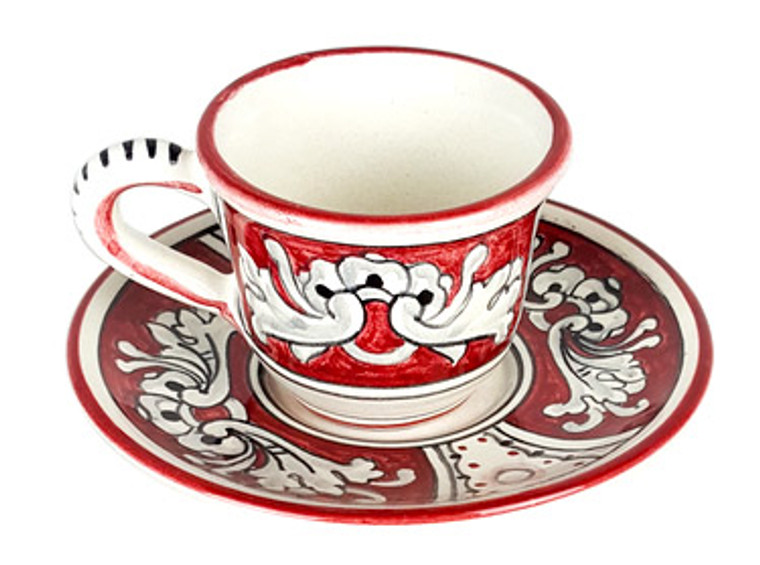 Coffee Cup with Plate '600 Fondo Rosso