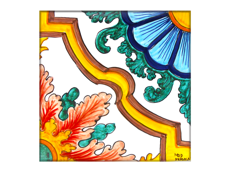 Half Flower Tile 7,8 x 7,8 Inches