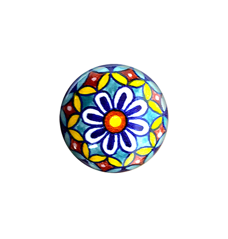 Ceramic knob blue, yellow, orange, light blue