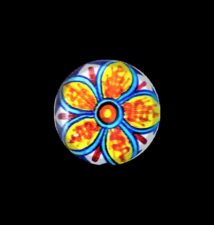 Ceramic italy knob orange, yellow, light blue, blu, red.