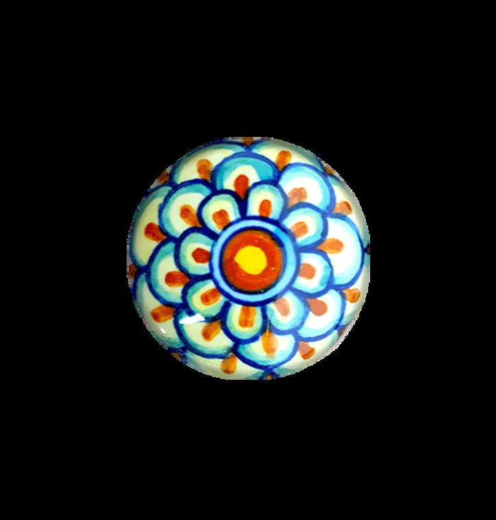 Italian ceramics knob yellow,orange,light blue