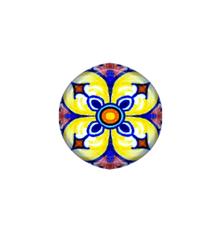 Italian ceramic store of knob yellw,blu, orange