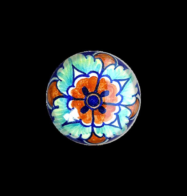 Italian ceramics knob orange, blu, light blue