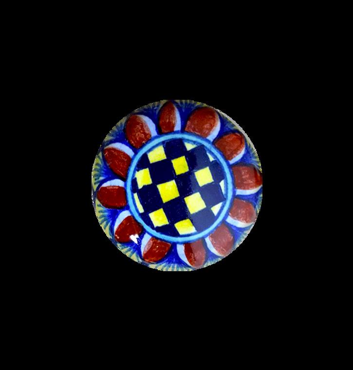 Italian ceramic knob hand painted. Blu, yellow, red
