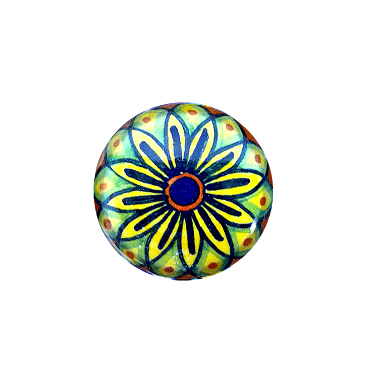 Painted ceramic cabinet knobs yellow, green, blu, orange.