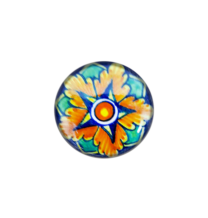 Italian pottery Knob with yellow, orange and light blue water