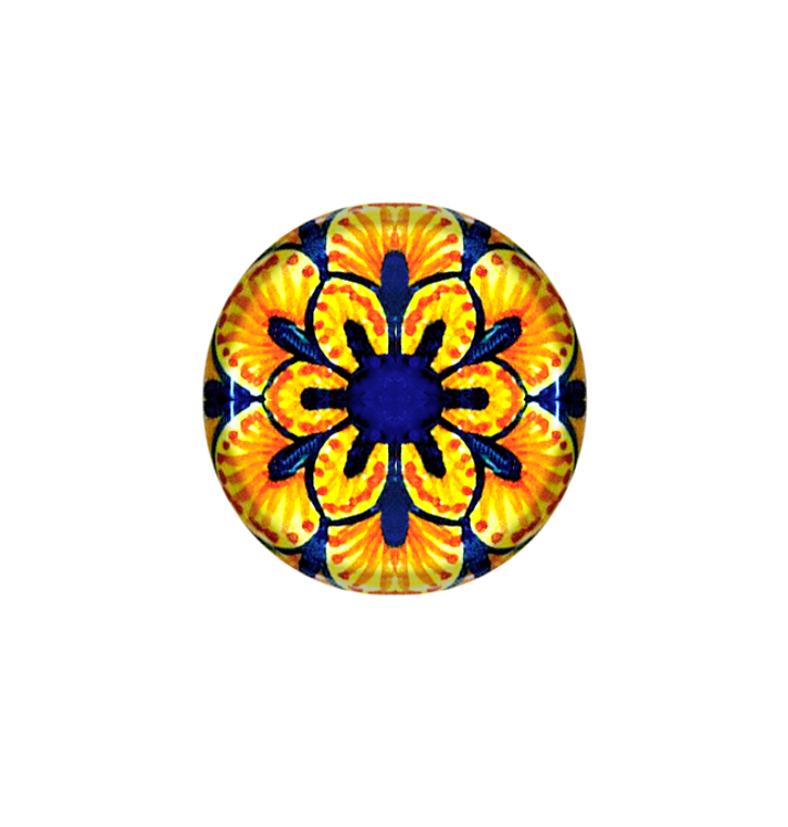 Deruta Italy pottery, knob ceramics blu, orange and yellow