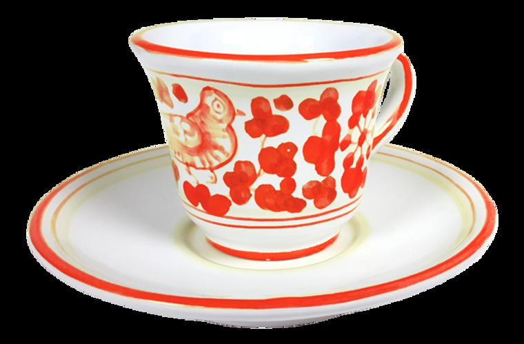 Espresso cup and saucer Arabesco Red