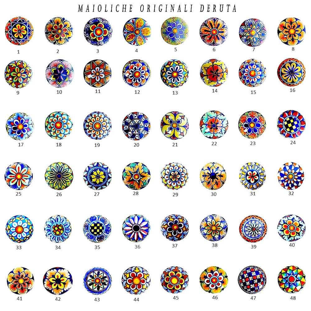 Italian Pottery Knobs handpainted in Deruta