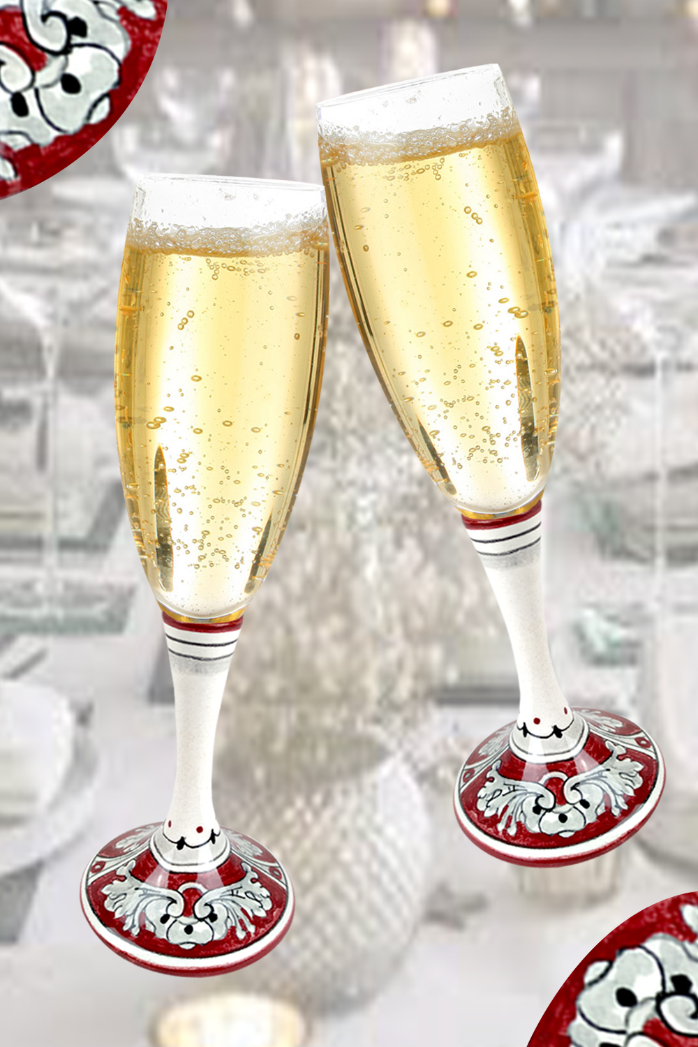 Ceramic and glass goblets with Italian decorations